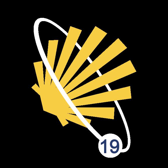 Concha de peregrino amarillo, bordeada por una elipse, símbolo del Camino de los Satélites