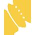 Logo-símbolo del Camino de los Satélites, concha de peregrino amarilla con elipse bordeándola